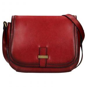 Kožená dámská crosbody kabelka Katana Vinoa – tmavě červená