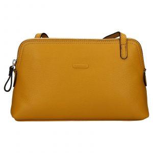 Kožená dámská crosbody kabelka Katana Mia – žlutá