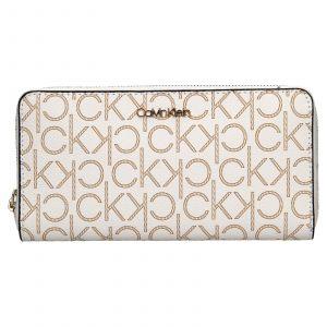 Dámská peněženka Calvin Klein Mono – hnědo-béžová