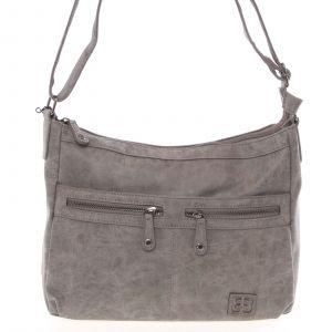 Střední měkká dámská crossbody kabelka šedá – Enrico Benetti Enjoy šedá
