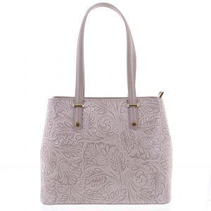 Exkluzivní dámská kožená kabelka fialovo růžová – ItalY Logistilla růžová