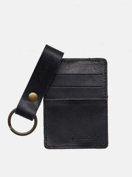 Sada kožené peněženky a klíčenky v černé barvě Jack & Jones