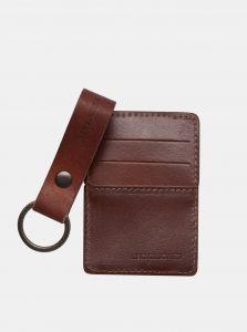 Sada kožené peněženky a klíčenky v hnědé barvě Jack & Jones