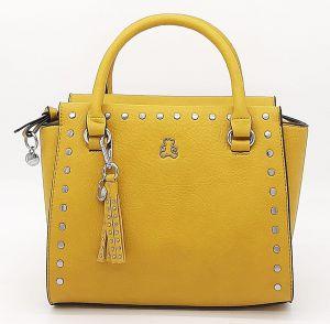 Dámská žlutá kufříková kabelka se cvočky i LULU CASTAGNETTE