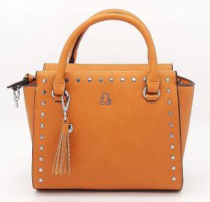 Dámská oranžová kufříková kabelka se cvočky i LULU CASTAGNETTE