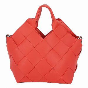 Designová červená kabelka s kosmetickou taškou