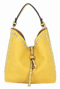 Žlutá malá kabelka s kosmetickou taštičkou uvnitř