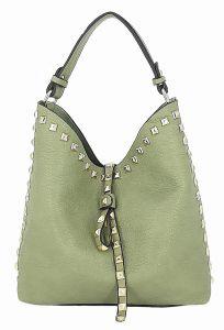Mátová malá kabelka s kosmetickou taštičkou uvnitř