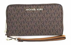 Michael Kors Dámská kožená peněženka Jet Set 192317894196 Brown signature