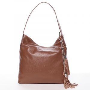 Módní kožená kabelka přes rameno hnědá – ItalY Georgine hnědá