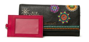 Desigual tmavě antracitová peněženka Mone Carlina Mariona