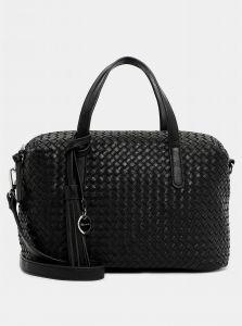 Černá vzorovaná velká kabelka s ozdobnou třásní Tamaris