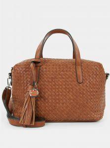 Hnědá vzorovaná velká kabelka s ozdobnou třásní Tamaris