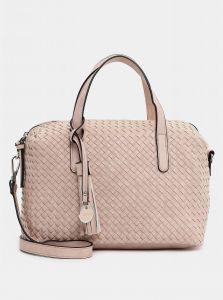 Světle růžová vzorovaná velká kabelka s ozdobnou třásní Tamaris