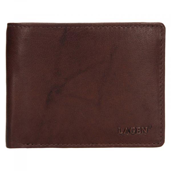 Pánská kožená peněženka Lagen Kall – tmavě hnědá
