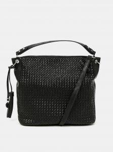 Černá prošívaná velká kabelka s ozdobnou třásní Tamaris