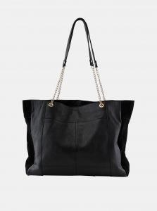Černá kožená kabelka Pieces Gunna
