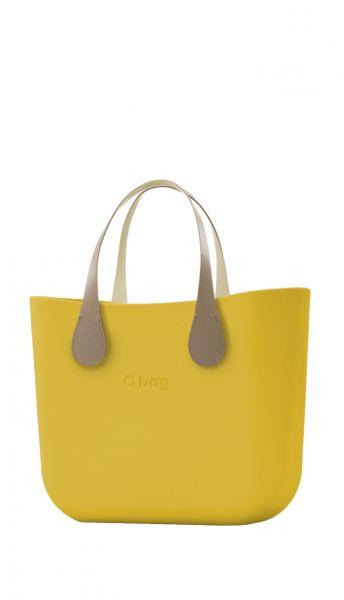 O bag kabelka MINI Ginestra s krátkými koženkovými držadly Extra Slim Ecru