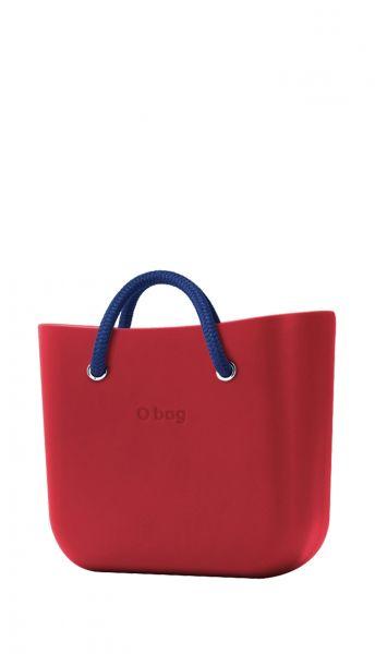 O bag červená kabelka MINI Rosso s modrými krátkými lanovými držadly Cobalto