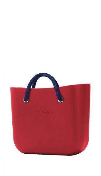 O bag červen kabelka MINI Rosso s tmavě modrými krátkými lanovými držadly Navy