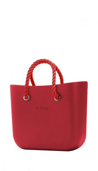 O bag červená kabelka MINI Rosso s červenými krátkými provazy