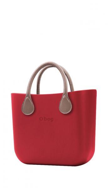 O bag červená kabelka MINI Rosso s krátkou koženkou Tortora