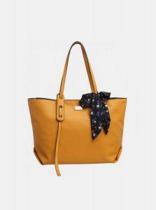 Hořčicová kabelka s pouzdrem a ozdobným šátkem Bessie London