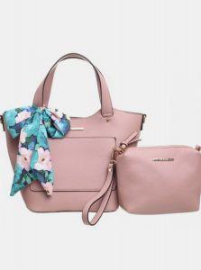 Růžová kabelka s pouzdrem a ozdobným šátkem Bessie London