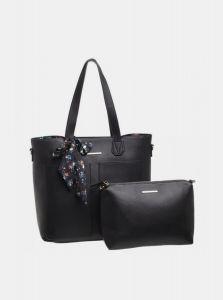 Černá kabelka s pouzdrem a ozdobným šátkem Bessie London