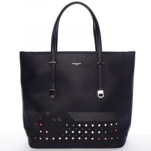 Elegantní perforovaná černá kabelka s organizérem – David Jones Cambria černá
