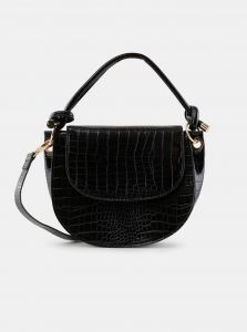 Černá crossbody kabelka s krokodýlím vzorem Pieces Gela