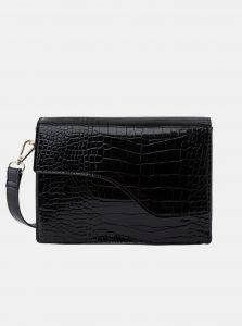 Černá crossbody kabelka s krokodýlím vzorem Pieces Gunes