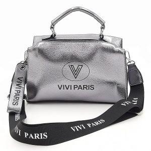 Moderní lesklá kabelka v titanové barvě Vivi Paris