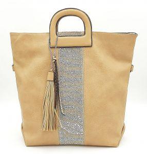Prostorná béžová kabelka s kamínky a třásněmi