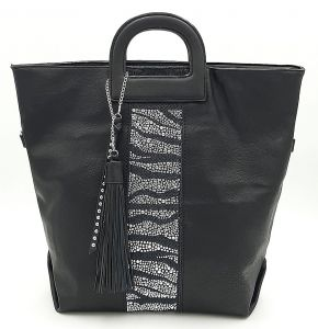 Prostorná černá kabelka s kamínky a třásněmi