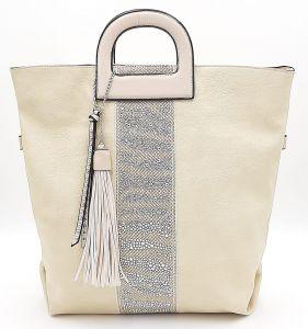 Prostorná krémová kabelka s kamínky a třásněmi