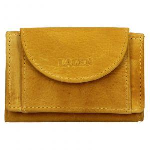 Dámská kožená slim peněženka Lagen Mellba – žlutá