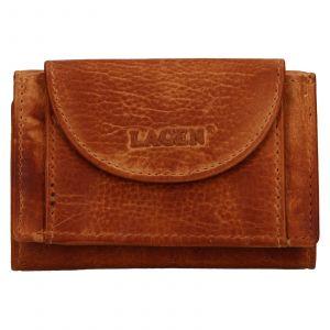 Dámská kožená slim peněženka Lagen Mellba – koňak