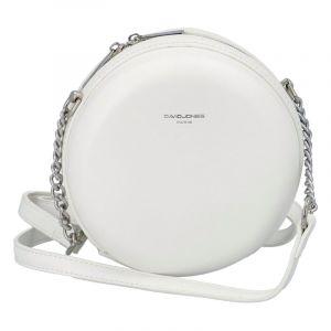 Dámská kulatá crossbody kabelka bílá – David Jones Shabirre bílá