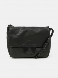 Černá kožená crossbody kabelka Pieces Lea