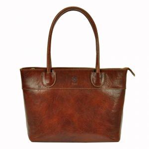 Dámská kožená kabelka Vera Pelle Alessia – hnědá