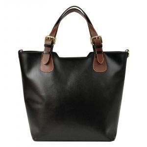 Dámská kožená kabelka Vera Pelle Jane – černohnědá
