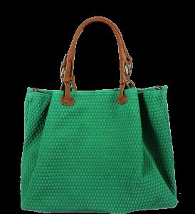 Zelená kožená kabelka Belloza Verde Camel