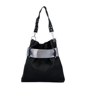 Luxusní dámská kabelka černo stříbrná – Paolo Bags Manue černá