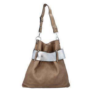Luxusní dámská kabelka taupe stříbrná – Paolo Bags Manue taupe