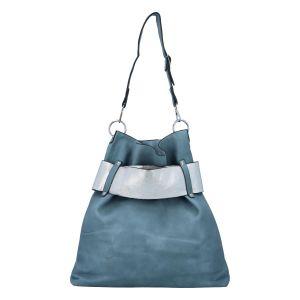 Luxusní dámská kabelka bledě modro stříbrná – Paolo Bags Manue modrá