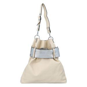 Luxusní dámská kabelka béžovo stříbrná – Paolo Bags Manue béžová