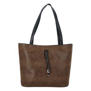 Velká hnědá vzorovaná dámská kabelka přes rameno – Ellis Huyen hnědá