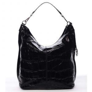 Velká kožená dámská kabelka černá – ItalY Celinda černá