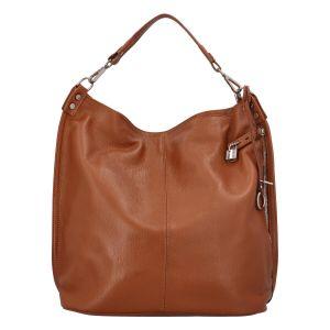 Velká kožená dámská kabelka světle hnědá – ItalY Celinda Mat hnědá